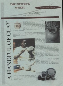 flyer in The Potters Wheel for one of Waithira Chege's solo exhibitions